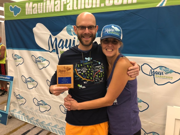Drew won his age group in the full marathon